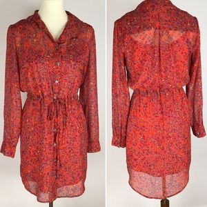Jessica Simpson red floral shirt dress | tunic | S